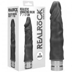 Vibromasseur Réaliste Noir Realrock - 19 cm
