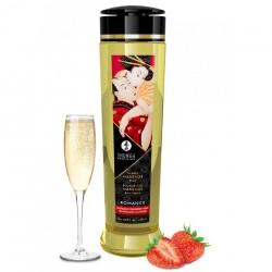 Huile de Massage Romance Saveur Fraise - Vin Pétillant - 240 ml