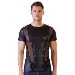 Tee Shirt Noir Avec Anneaux - XL