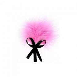 Plumeau rose sur tige avec noeud en satin noir