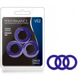 Pack 3 Anneaux Pour Pénis En Silicone Bleu VS2